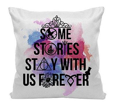 Almofada - Bookstagram - Algumas Histórias ficam conosco para Sempre
