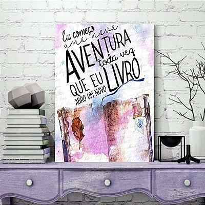 Quadro MDF - Bookstagram - Começo uma nova Aventura