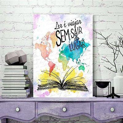 Quadro MDF - Bookstagram - Ler é Viajar sem sair do Lugar