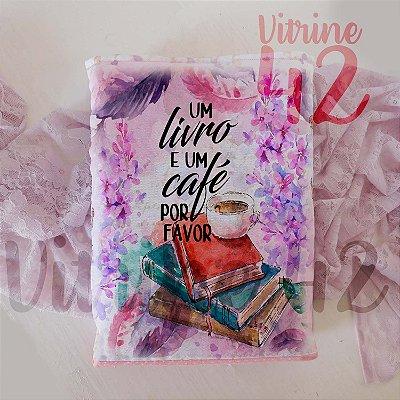 Capa Tipo Luva para Livro - Um livro e um café, por Favor