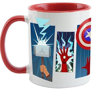 Caneca -  Avengers - Thor, Homem de Ferro, Hulk, Capitão América e Gavião Arqueiro