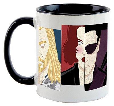 Caneca -  Vingadores - Thor, Homem de Ferro, Hulk, Capitão América, Gavião Arqueiro e Viúva Negra