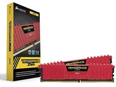 Memória Desktop Gamer Ddr4 Corsair 8Gb Kit (2X4Gb) 2400Mhz Red
