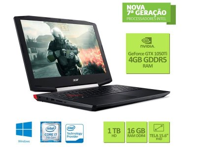 Notebook Acer VX5 I7 7700Hq 16Gb 1Tb Full Hd Usb 3.1 1050Ti 4Gb