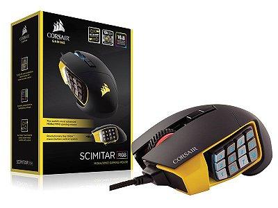 Mouse Gamer Corsair Scimitar Rgb 12000Dpi Laser Preto/Amarelo