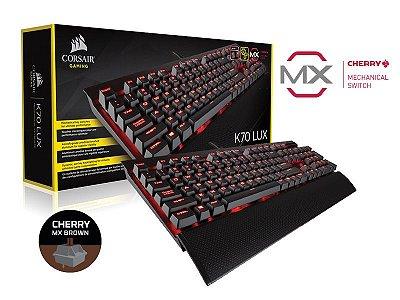 Teclado Gamer Corsair  K70 Lux Retroiluminação Teclas Cherry Mx Brown