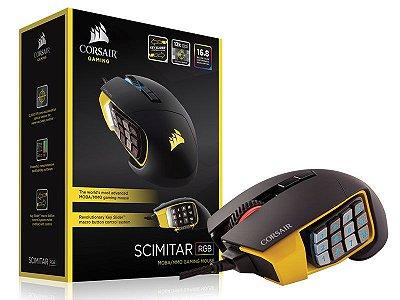 Mouse Gamer Corsair Scimitar Pro Rgb 16000Dpi Optico Preto/Amarelo