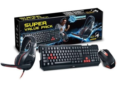 Kit Teclado Mouse E Headset Gamer Genius Kmh-200 Usb Cor Preto