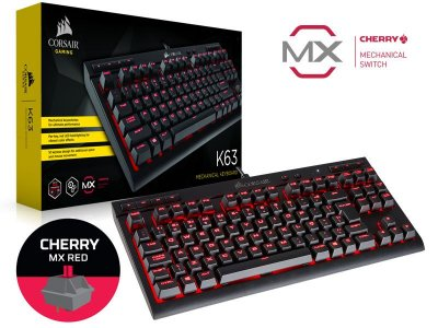 Teclado Gamer Corsair Ch-9115020-Br K63 Compact Red Cherry Mx Red