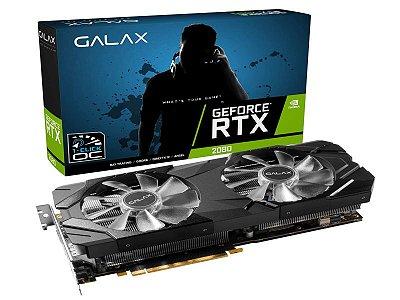 Placa de vídeo nvidia Galax RTX 2080 1-Click OC 8gb gddr6 256 bits, 28NSL6UCU9EN