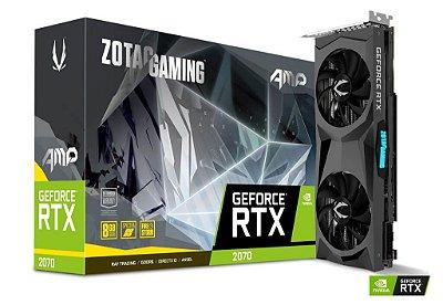 Placa de vídeo nvidia Zotac RTX 2070 AMP 8gb gddr6 256 bits, ZT-T20700D-10P