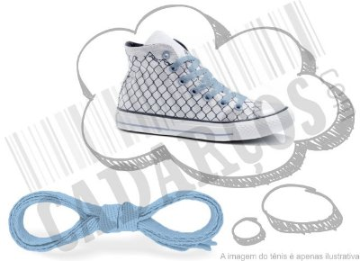 Cadarço de Tênis e Sapatênis Azul Bebê Achatado Pol 120cm (Par)