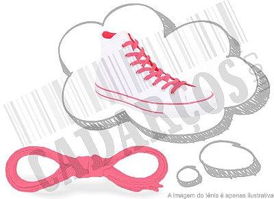 Cadarço de Tênis e Sapatênis Rosa Fluorescente Achatado Pol (Par)