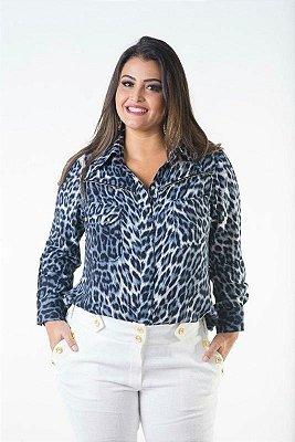 Camisa Plus Size Animal Print Azul
