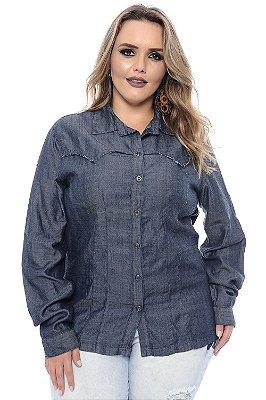 Camisa Plus Size Jeans Lorena