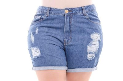Shorts Plus Size Boyfit Destroyed