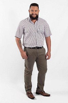 Calça Masculina Plus Size Sarja Musgo