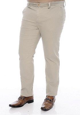 Calça Masculina Plus Size Sarja Bege