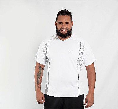 Camiseta Masculina Plus Size Esportiva Branca