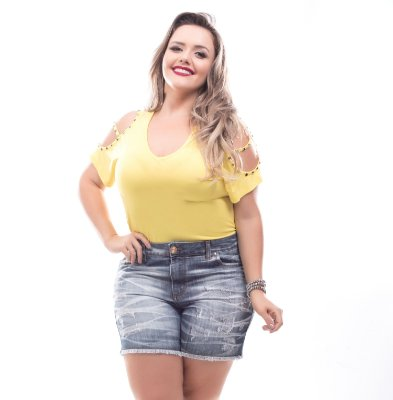 Shorts Plus Size Destroyed Cássia