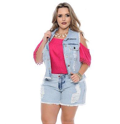 Colete Plus Size Jeans Flamingo