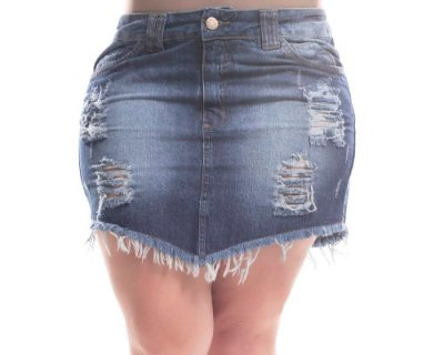 Saia Plus Size Jeans Destroyed