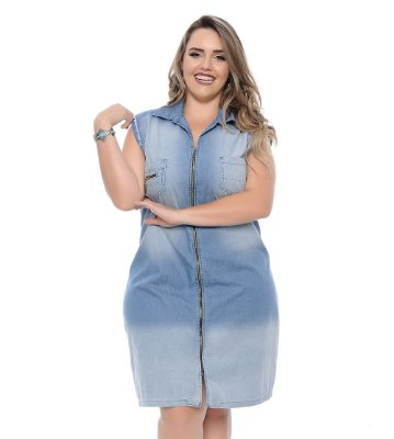 Vestido Plus Size Jeans Zipper