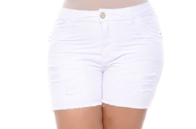 Shorts Plus Size Boyfit Branco