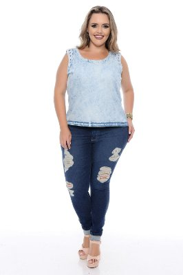 Calça Plus Size Super Skinny Destroyed