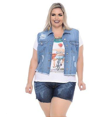 Colete Plus Size Jeans Janette
