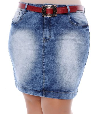 Saia Jeans Plus Size Belle