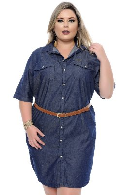 Vestido Jeans Plus Size Hilst