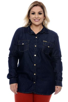 Camisa Jeans Plus Size Cindy