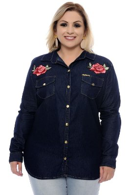 Camisa Jeans Plus Size Kandy