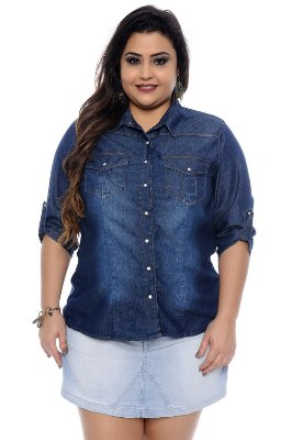Camisa Jeans Plus Size Francy