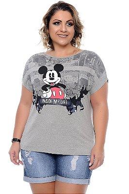 Blusa Plus Size Mickey Cinza