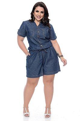 Macaquinho Jeans Plus Size Suenia