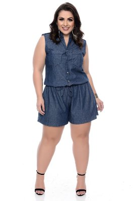 Macaquinho Jeans Plus Size Maryon