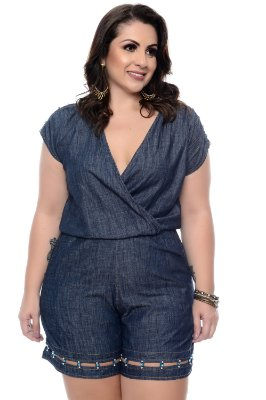 Macaquinho Jeans Plus Size Vitoriana