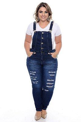 Jardineira Jeans Plus Size Marilu