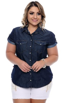 Camisa Jeans Plus Size Maguy