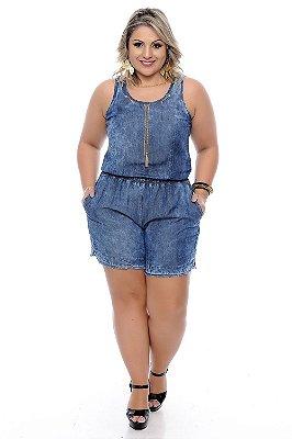 Macaquinho Jeans Plus Size Odilma