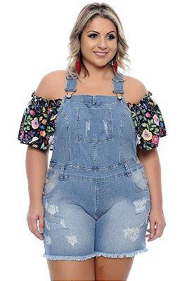 Macaquinho Jeans Plus Size Elita