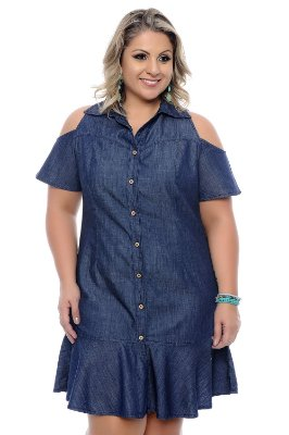 Vestido Jeans Plus Size Thassia