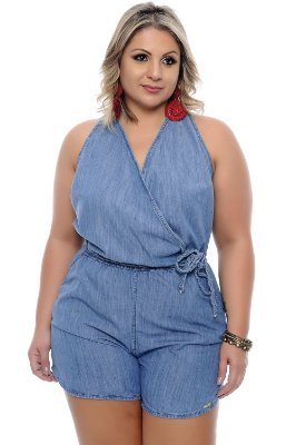 Macaquinho Jeans Plus Size Ilda