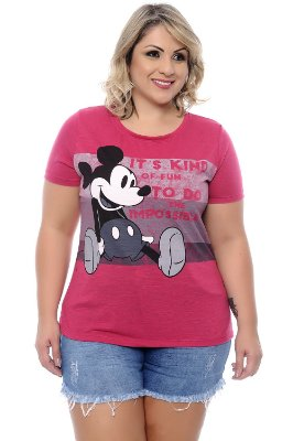 Blusa Plus Size Mickey Wine