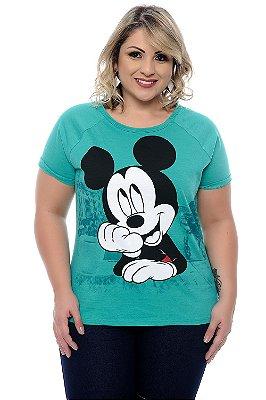 Blusa Plus Size Mickey Green Water