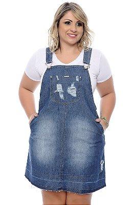 Jardineira Saia Jeans Plus Size Orleane