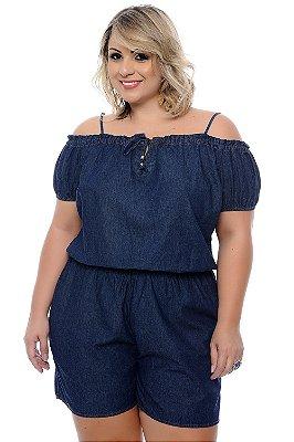 Macaquinho Jeans Plus Size Gabrielli