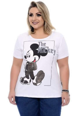 Blusa Plus Size Mickey Prata White